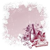 Background with vintage wine still life — Stock Vector