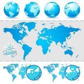 Dünya haritaları ve küre — Stok Vektör