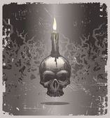 Halloween illustration - skull and candle — Stock Vector