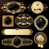 Zestaw klatek kwiecisty luksus złoty — Wektor stockowy