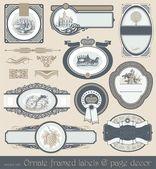 Satz von vintage-etiketten & seite dekor — Stockvektor