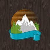 Mountains landmark emblem — Stock Vector