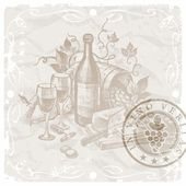 Vintage still life with wine and foods — Stock Vector
