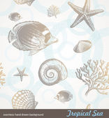 Seamless background - underwater fauna — Vector de stock