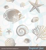 Seamless background - underwater fauna — Stock Vector