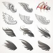 Sada vektor křídla — Stock vektor