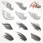 Vektor uppsättning vingar — Stockvektor