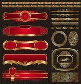 Set of framed golden labels & patterns — Stock Vector