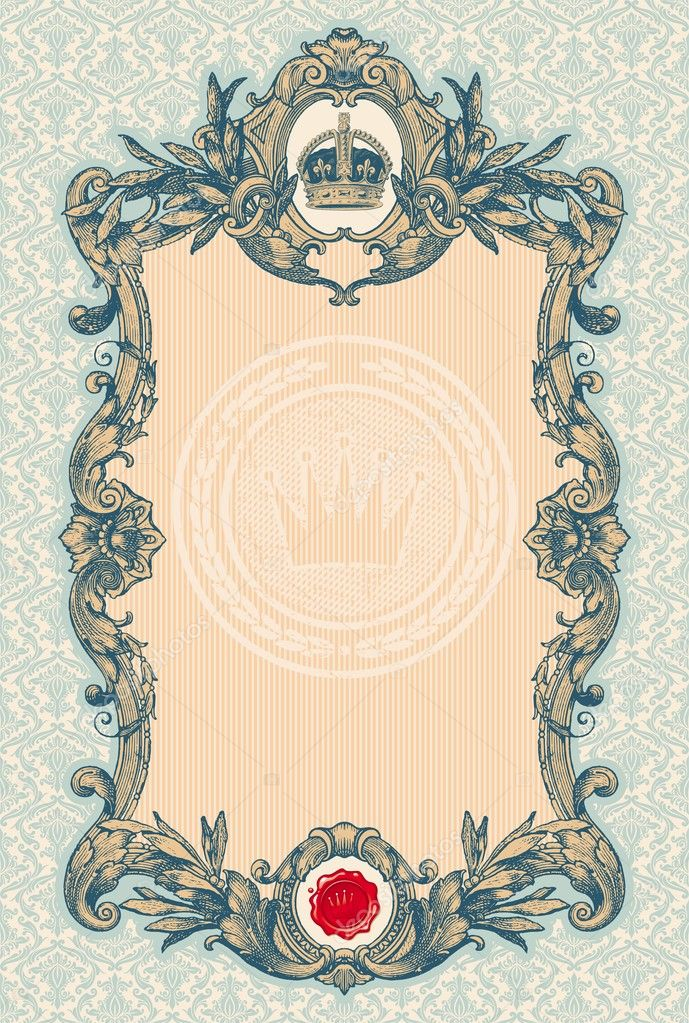 Ornate engraved vintage decorative vector frame — Stok Vektör #5405435