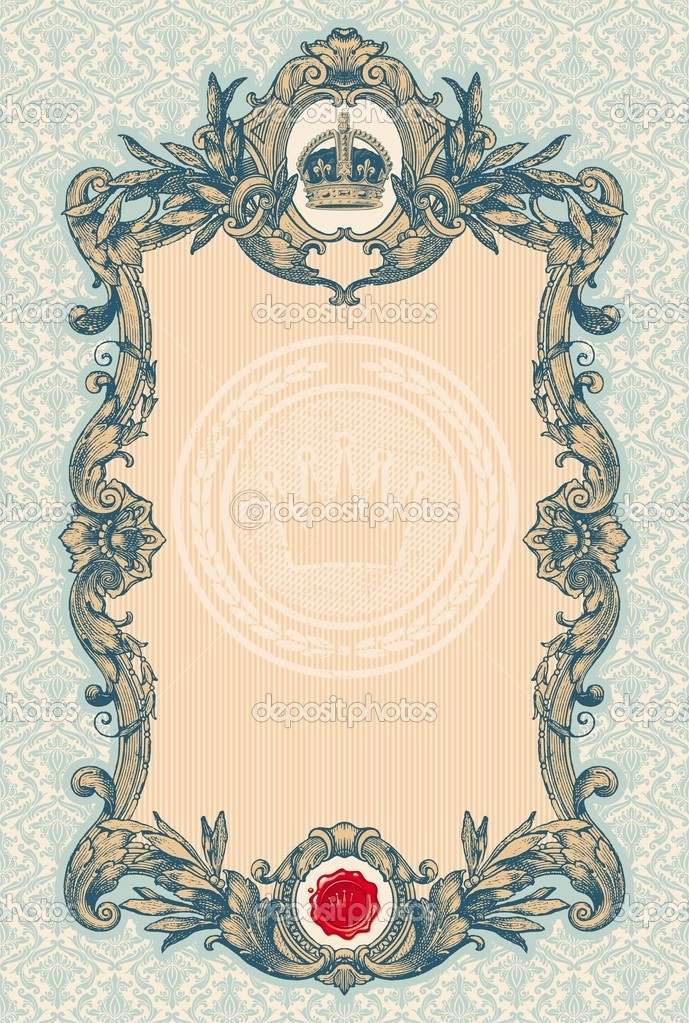 Ornate engraved vintage decorative vector frame — Stockvectorbeeld #5405435