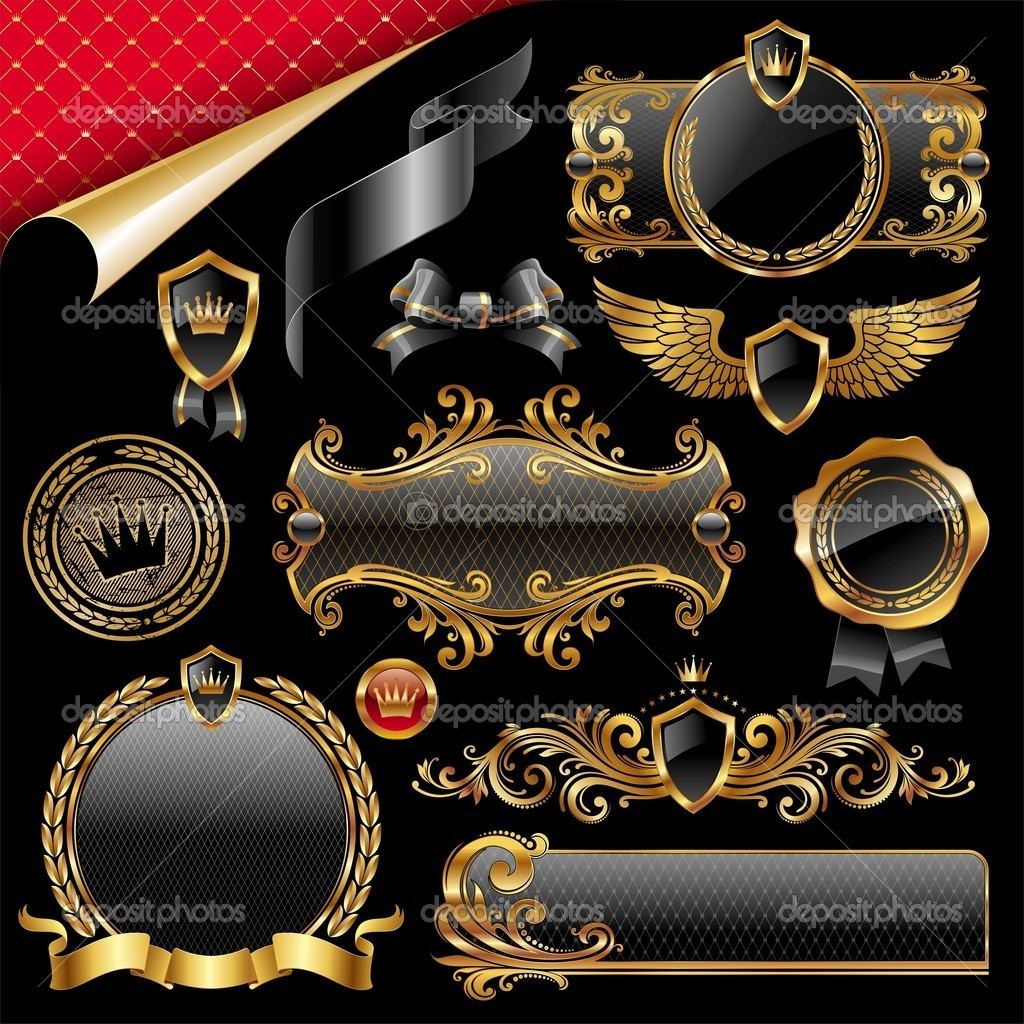 Set of royal gold and black design elements — Stock Vector #5405515