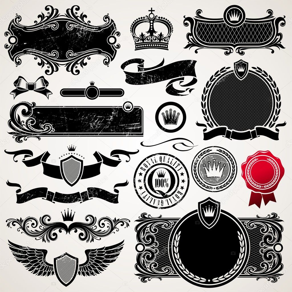 Set of royal ornate frames and elements — Stock Vector #5405524