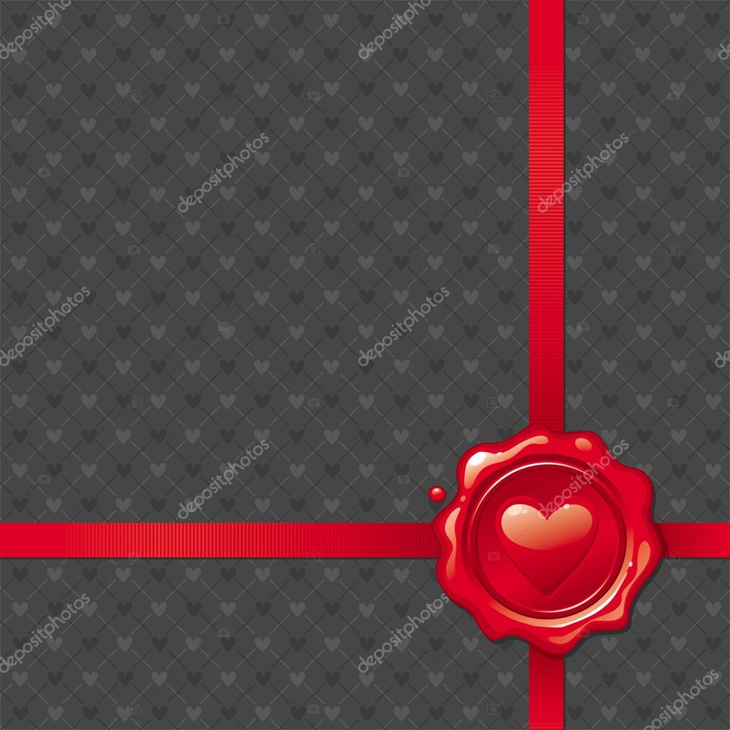 Vector background with Valentines sealing wax stamp  Stock Vector #5405883