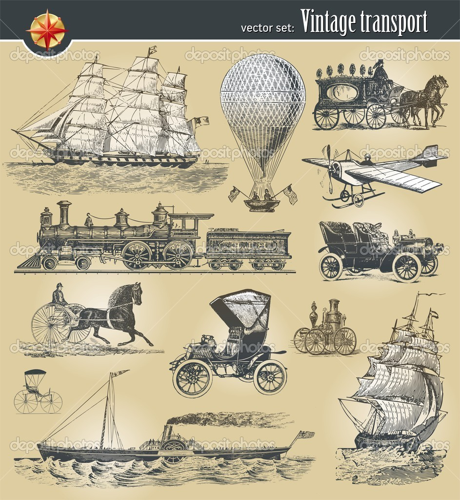 Vector set of vintage historical transport — Stock Vector #5405930