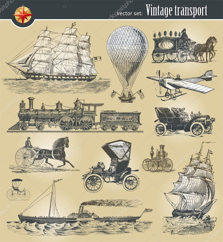 Vector set of vintage historical transport — Vettoriali Stock  #5405930
