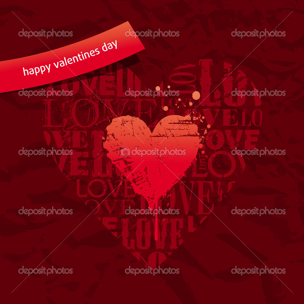 Valentines card with grunge hearts on vintage paper — Stock Vector #5409471