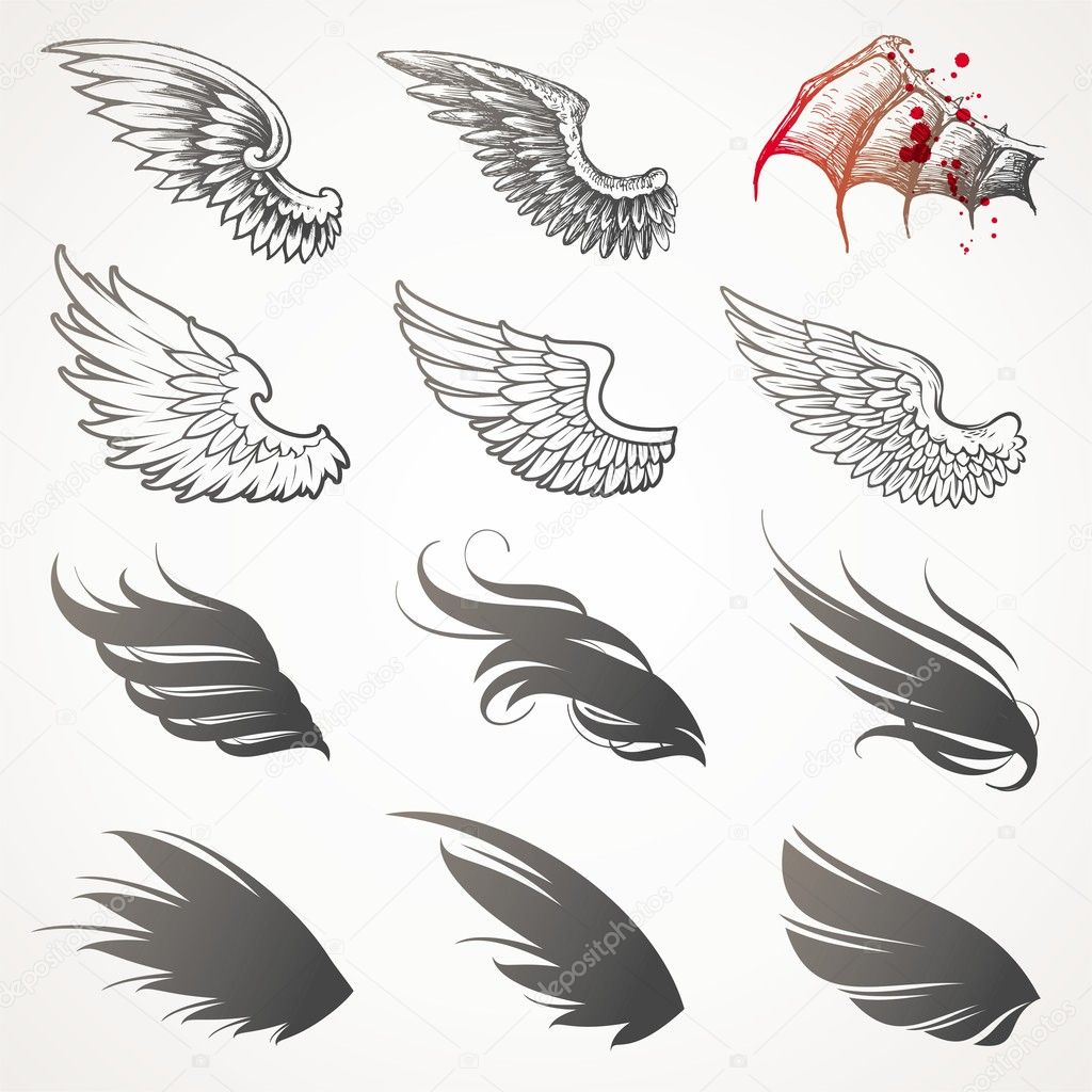 Vector set of wings  Stockvectorbeeld #5409605