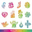 Stock Vector: Hand drawn Christmas holiday vector set