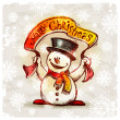 Royalty-Free Stock Vector Image: Happy snowman with holiday banner