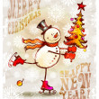 Skating happy snowman with Christmas tree — Stockvektor
