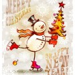 Skating happy snowman with Christmas tree — Stock vektor