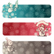 Royalty-Free Stock Vector Image: Three Christmas banners with hand drawn snowmans