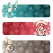 Three Christmas banners with hand drawn snowmans — Stock Vector