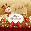 Vector christmas illustration with snowman, gift &amp; frame for text - Stock Vector
