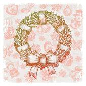 Hand drawn Christmas wreath — Stock Vector