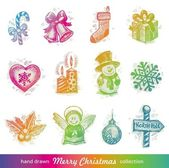 Hand drawn Christmas holiday vector set — Stok Vektör