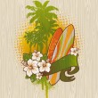 Royalty-Free Stock Vector Image: Vector illustration - Tropical surf emblem painting on a wood board