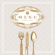 Vector template ornate menu with vintage cutleries — Stock Vector
