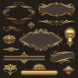 Stock Vector: set of golden ornate page decor elements