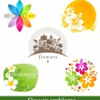 Vector set - flower emblems and labels — Stock Vector