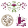 Vector set - wine & winemaking emblems & labels in different styles — Stok Vektör