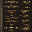 Vector de stock : Golden calligraphic vector design elements on a black wood texture backgrou