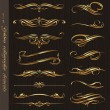Golden calligraphic vector design elements on a black wood texture backgrou — Imagen vectorial