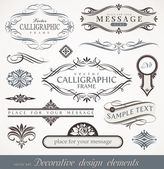 Vector decorative calligraphic design elements & page decor — Stockvector