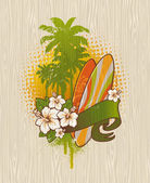 Vector illustration - Tropical surf emblem painting on a wood board — Stock Vector