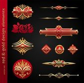 Red & gold luxury vector design elements — Stock Vector