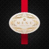 Vector pattern background with framed ornate menu label — Stock Vector