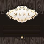 Vector menu with calligraphic frame on wooden texture — Stock Vector