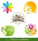 Vector set - flower emblems and labels — 图库矢量图片