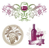 Vector set - wine & winemaking emblems & labels in different styles — Stock Vector