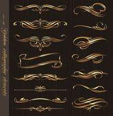 Elementos de diseño oro vector caligráficos en una textura de madera negro backgrou — Vector de stock