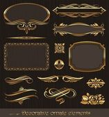 Golden decorative vector design elements & page decor — Stok Vektör