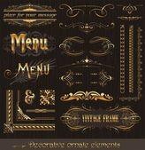 Ornate golden design elements & page decor — Stok Vektör