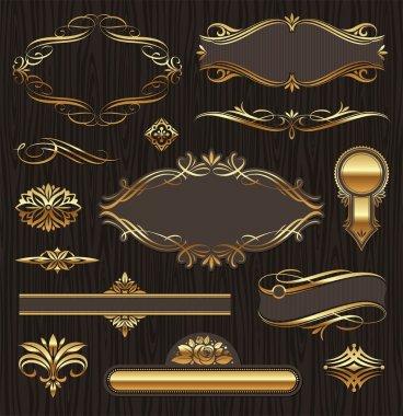 Set of golden ornate page decor elements