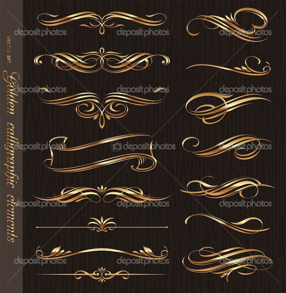 Golden calligraphic vector design elements on a black wood texture background  Stock Vector #6294934