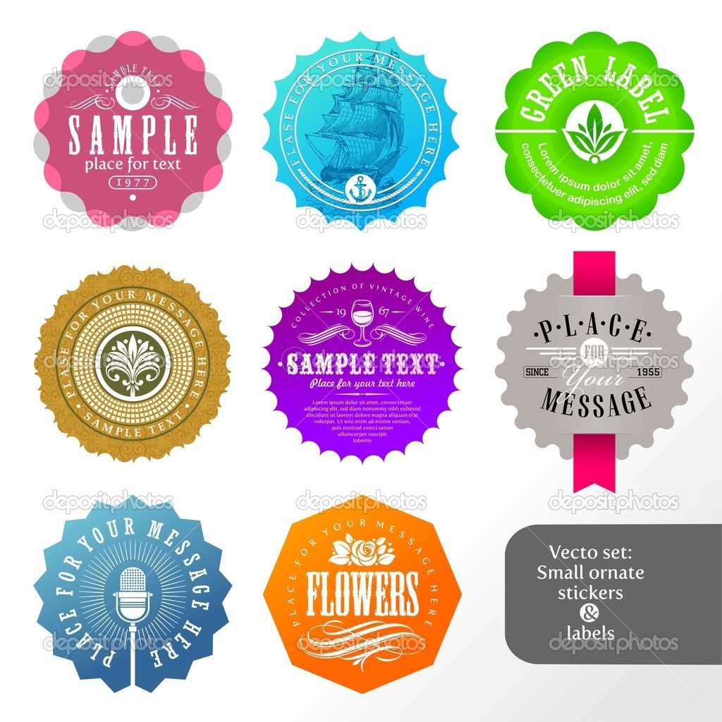 Vector set of small labels and stickers — ベクター素材ストック #6295018